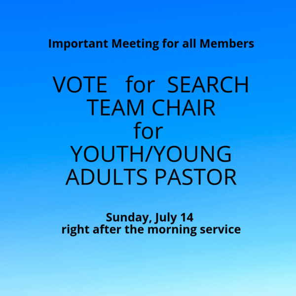 Vote for Search Team Lead for Youth/Young Adults Pastor