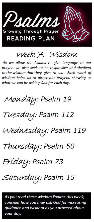 Psalms Reading Plan: Week 7: Wisdom | Taber Evangelical Free Church