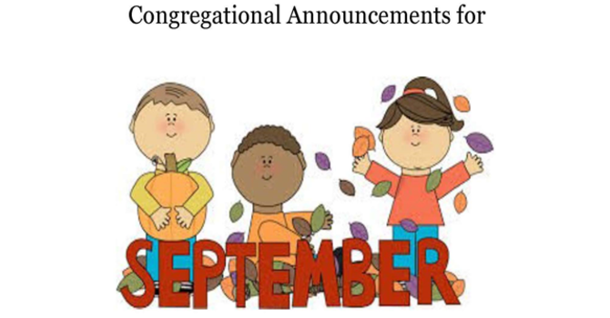 Congregational Announcements - September 2017 image