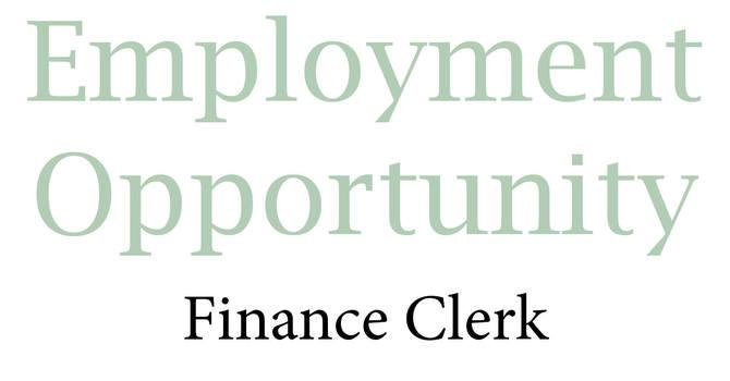 Employment Opportunity - Finance Clerk image