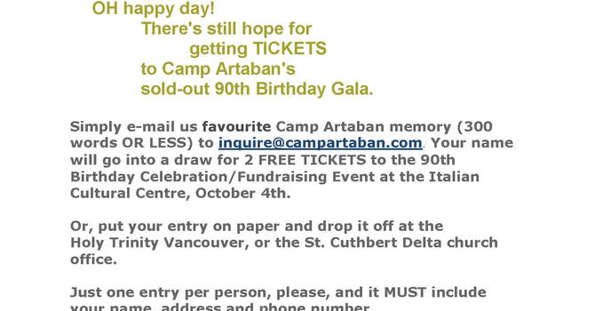 Camp Artaban Gala Ticket Contest image