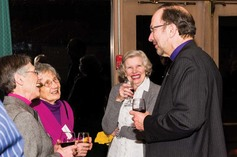 Outgoing president bishop philip poole speaks with some guests