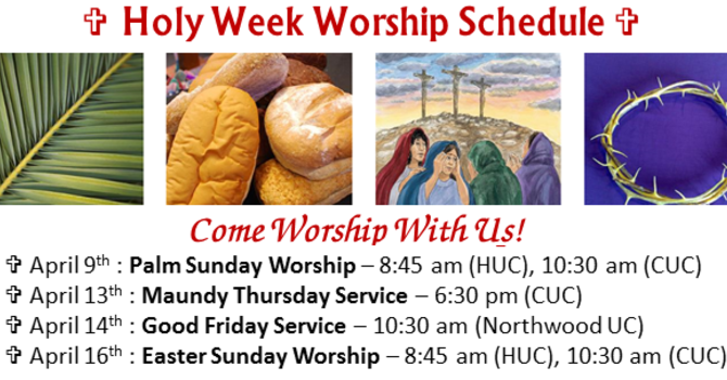 Holy Week Worship Schedule image