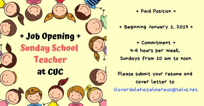 Job Posting - Sunday School Teacher image