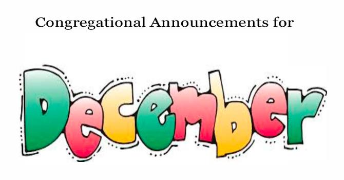 Congregational Announcements - December 2016 image