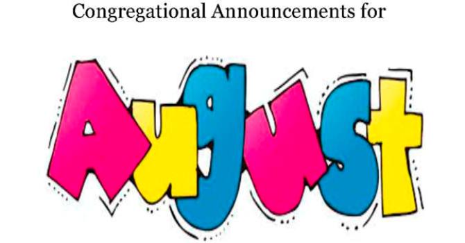 Congregational Announcements - August 2017 image