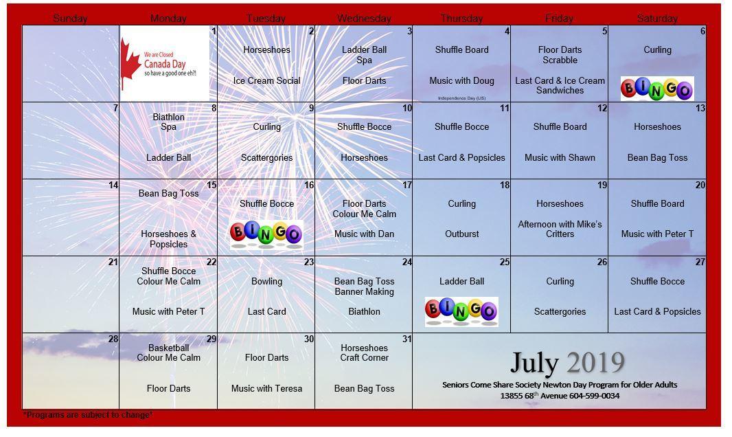 NT July Calendar