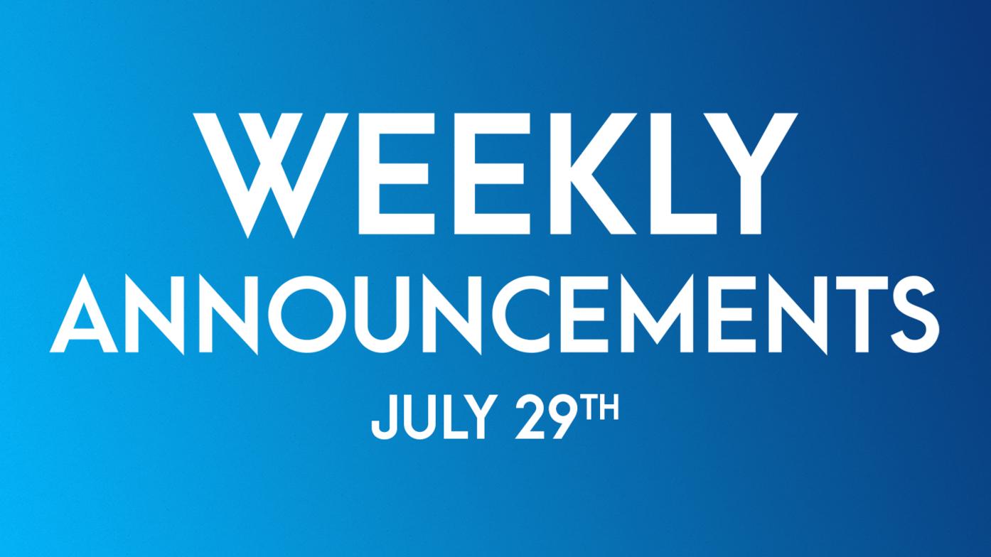 Weekly Announcements - July 29th | Bramalea Baptist Church