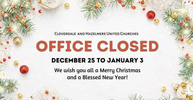 Office closed for Christmas Holidays image