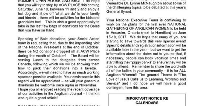 ACW Newsletter for June 2016