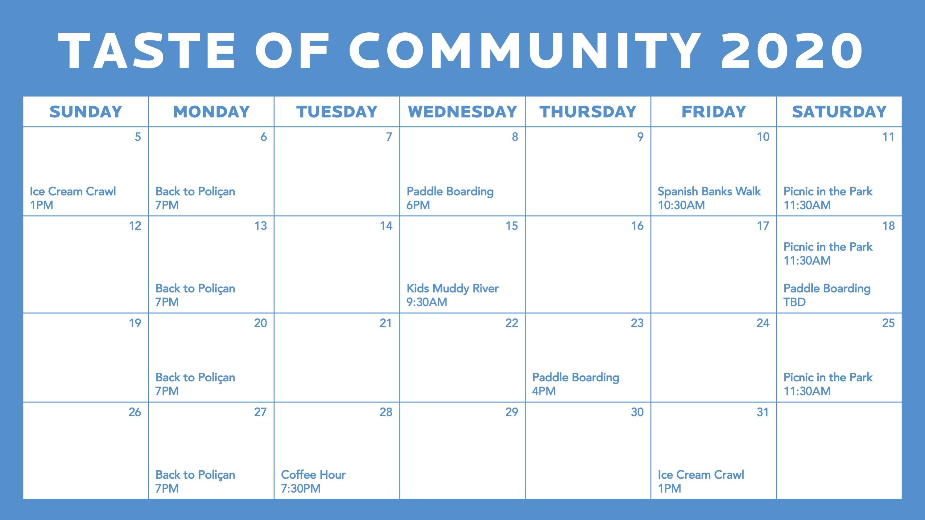TOC 2020 Calendar