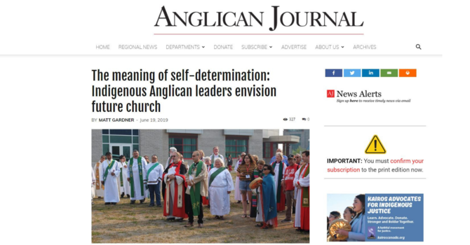 Anglican Journal article clarifies self-determining church implications image