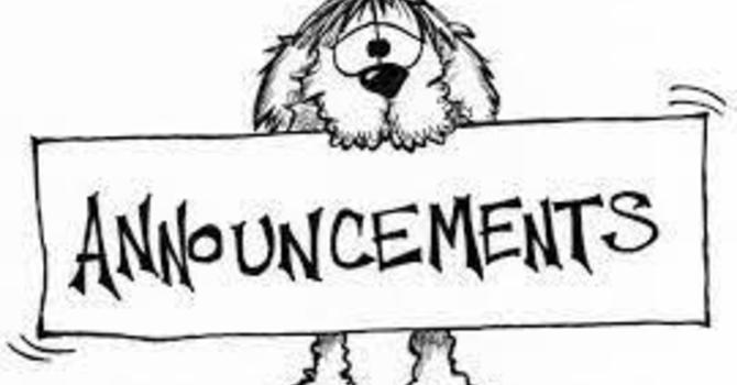 Announcements June 9, 2019 image