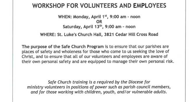 Upcoming Safechurch Workshop image