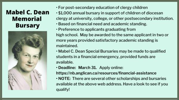 Mabel C. Dean bursary deadline is March 31