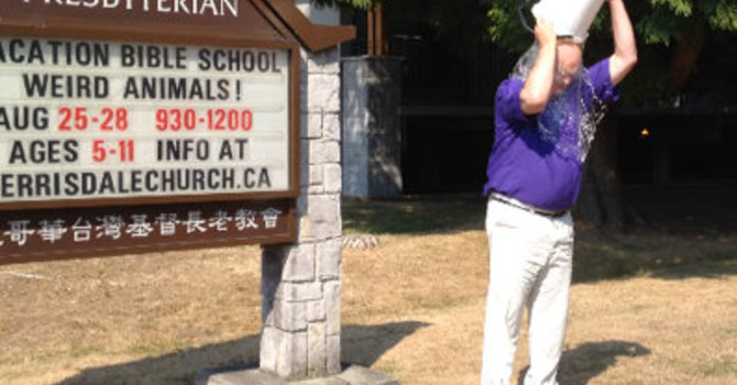 Moderator of PCC takes Ice-Bucket Challenge at Kerrisdale Presbyterian image