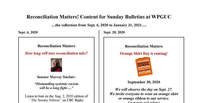 Reconciliation Matters - Bulletin inserts Fall 2020 image