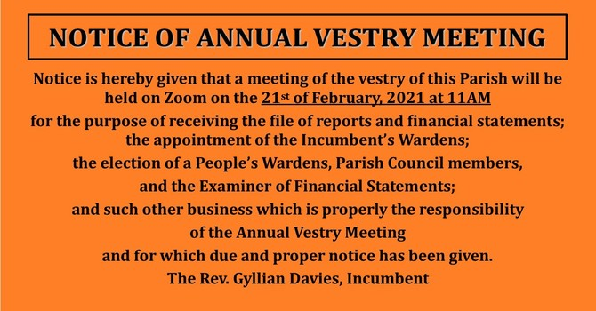 Notice of Annual Vestry Meeting image