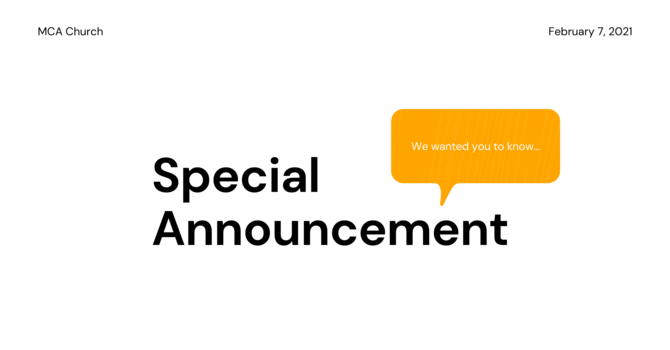 Special Announcement  image