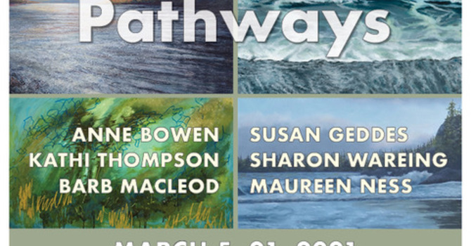 """Upcoming Chapel Gallery Exhibit  -- Pathways -- and """"2022 call to Artists"""" image"""