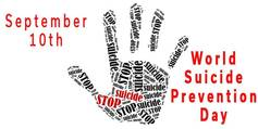 September 10th world suicide prevention day text hand picture