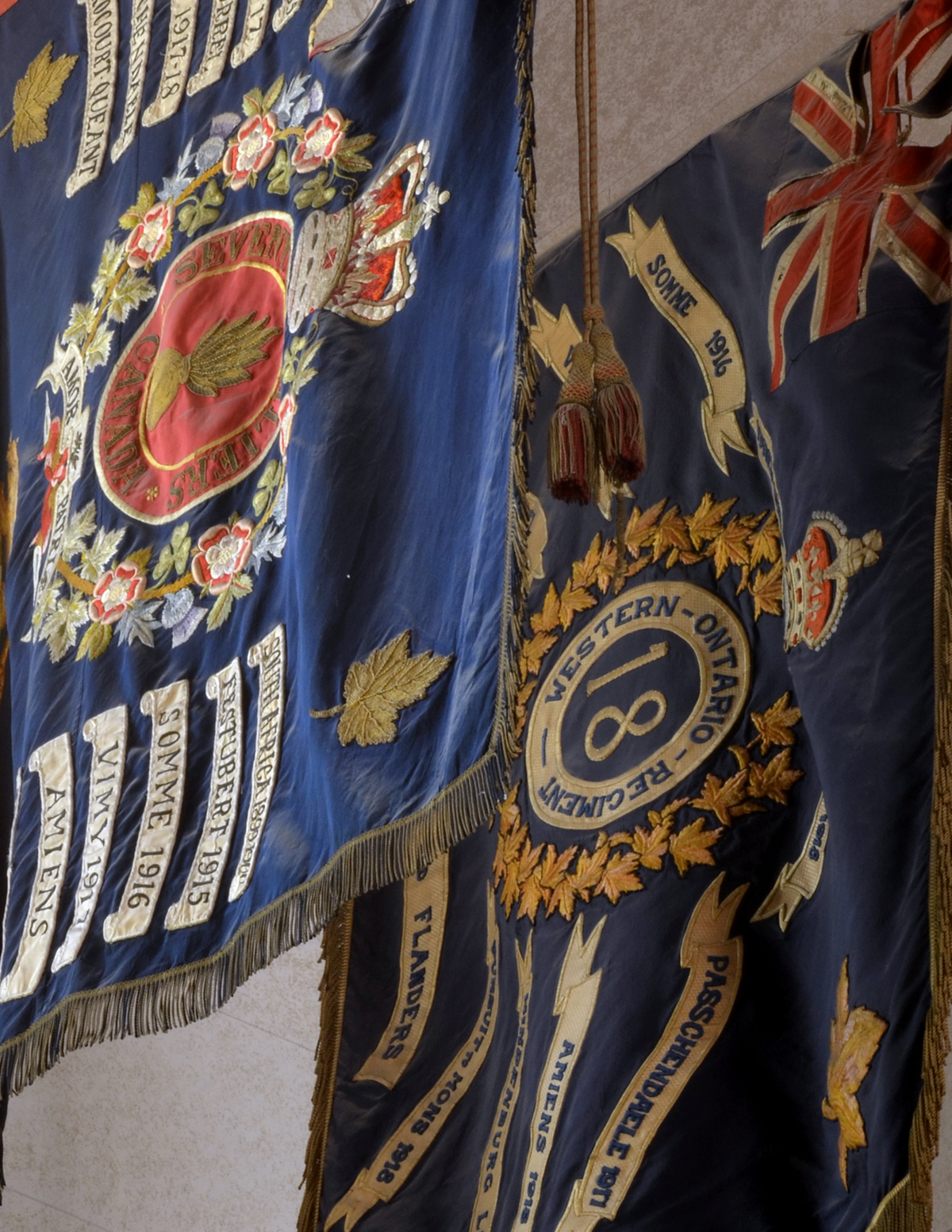 Hanging Military Colours, in safe keeping at St. Paul's