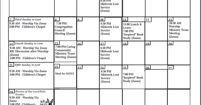 Apostles Calendar - Mar. 2021 image