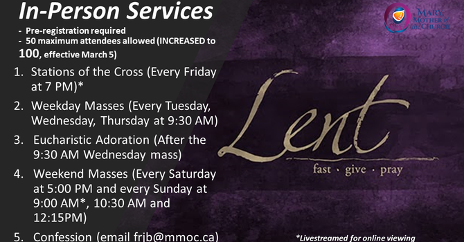 In-Person Services at MMOC -- Maximum attendance INCREASED from 50 to 100 (Effective March 5)!!!