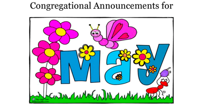 Congregational Announcements - May 2017 image