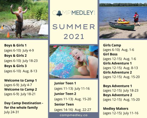 Camp Medley summer schedule