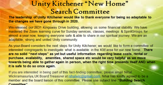 Search Committee for our new home! image