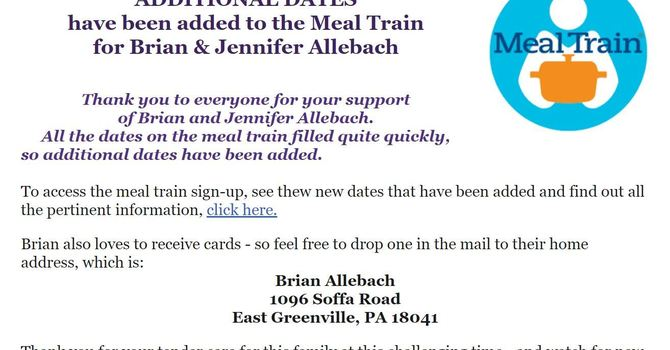 Meal Train Dates Extended! image