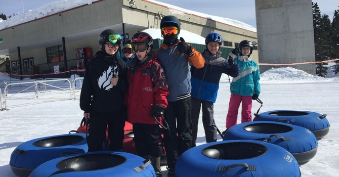 Grade 4 and 5 students have a great day tubing image