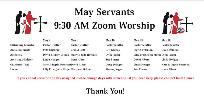 May 2021 Servants List image