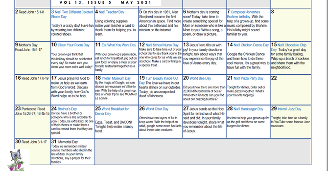 Roots & Wings Calendar - May 2021 image