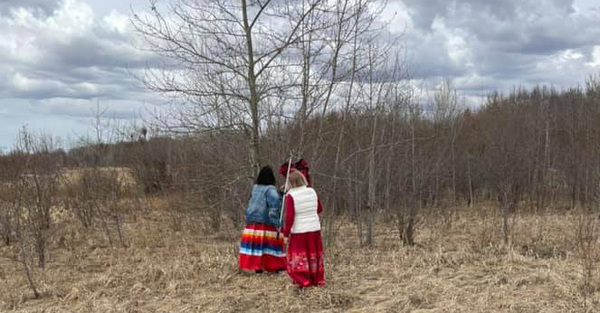 Immanuel Reconciliation Team Displays Red Dresses in Wetaskiwin Parks
