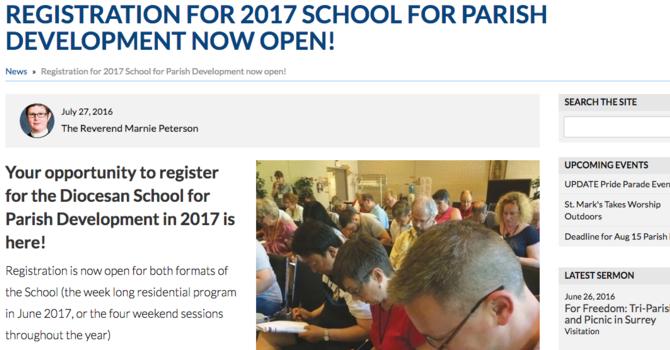 Registration for 2017 Parish Development School image