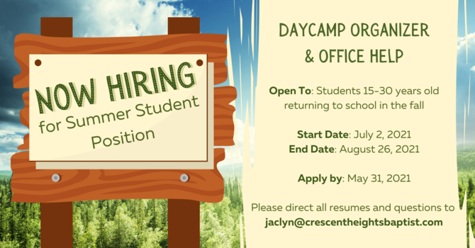 Now Hiring: Student Summer Position! image
