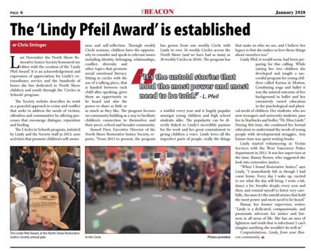 Lindy Pfeil Award Highlighted in Beacon Newspaper