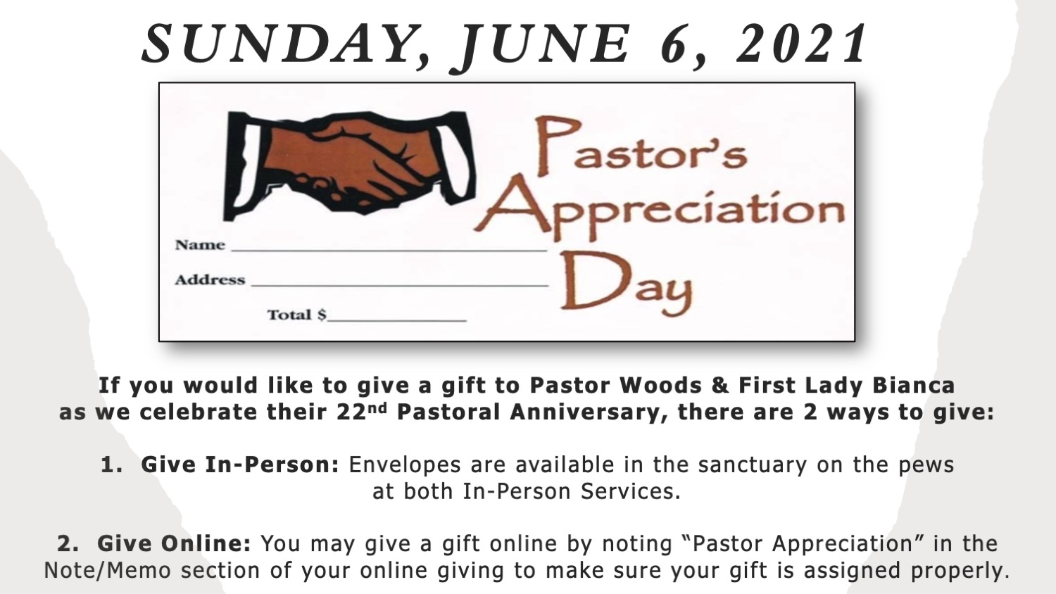 Ways to give a gift to Pastor Woods