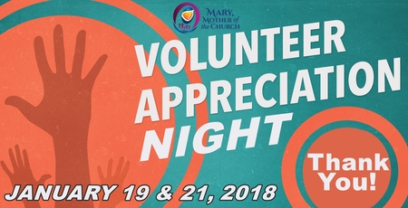 Volunteer Appreciation Night - Fri Jan 19 (adults) & Sun Jan 21(youth)