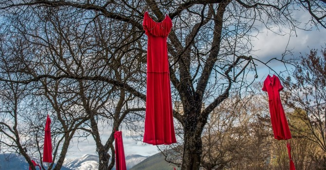 Pinning Hopes for Change on a Red Dress image