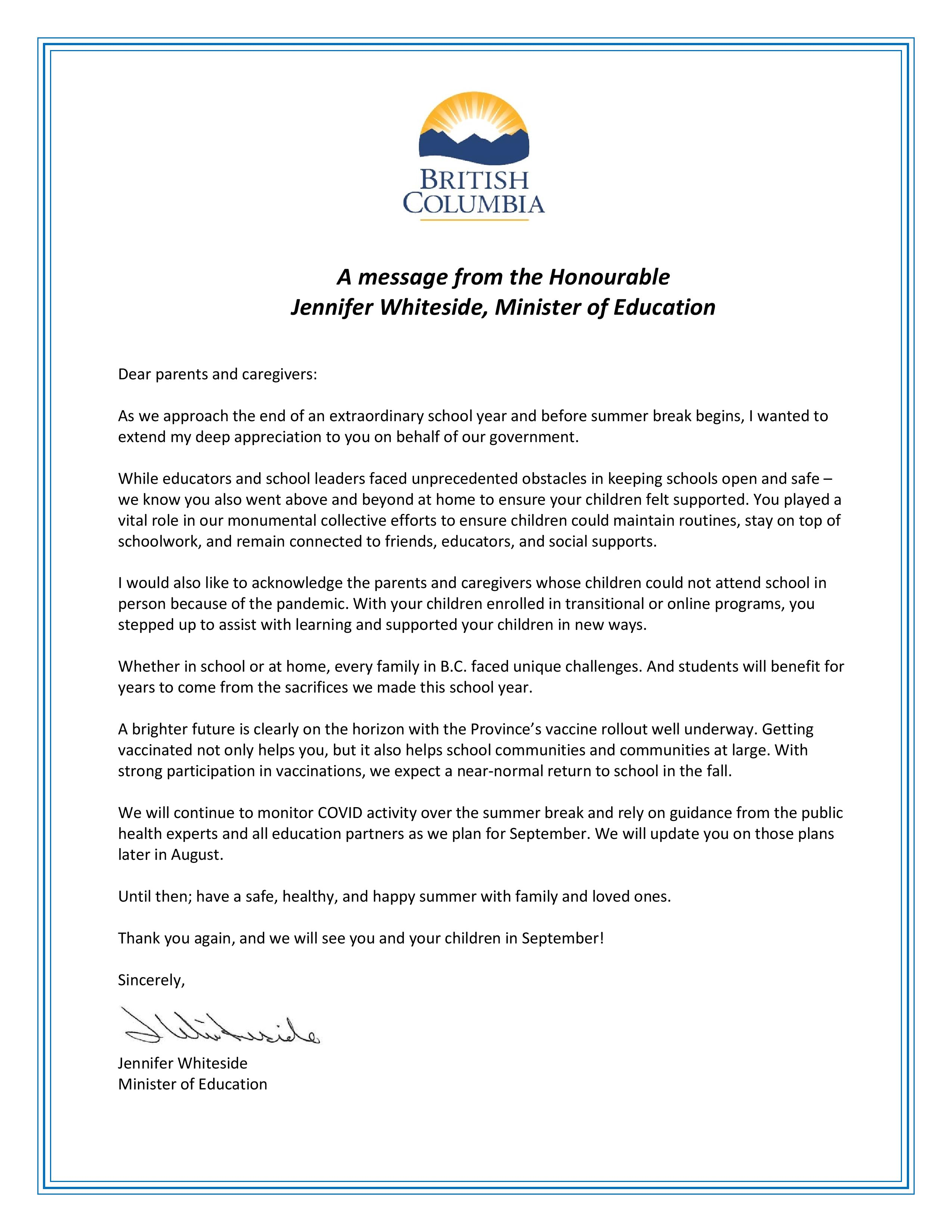 Letter to parents and caregivers from the BC Ministry of Educastion