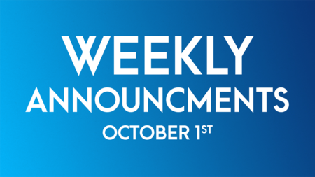 Weekly Announcements - October 1st