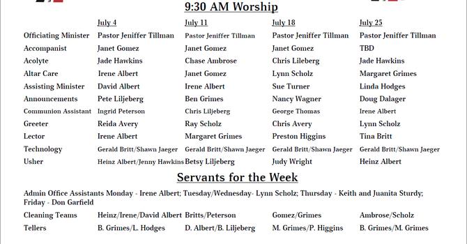 July 2021 - Servants List image