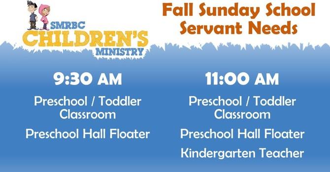 Fall Children's Sunday School Servant Needs image