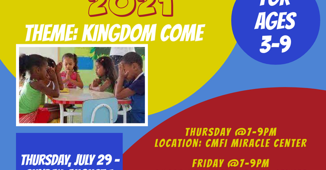 Vacation Bible School for Children ages 3-7