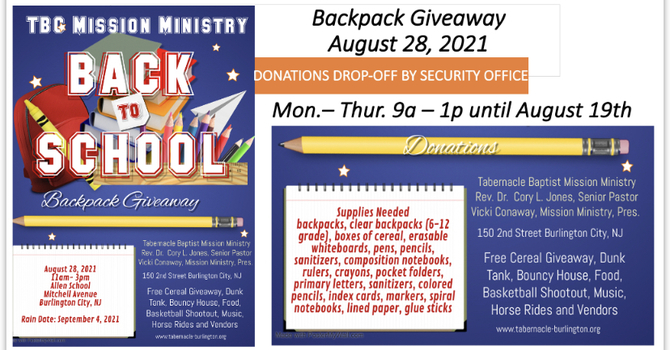 Mission Ministry Back Pack Giveaway
