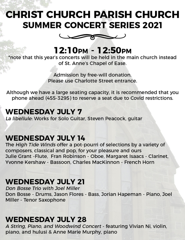 July concerts at Christ Church (Parish) Church