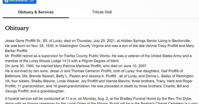 CANCELLED ! NO LUNCH after services today(Sunday Aug. 1rst.)    JESSE G PROFFITT SR. Obituary Click Here
